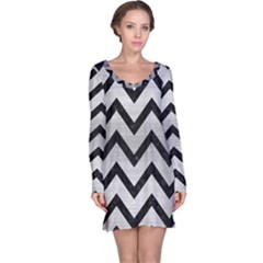 Chevron9 Black Marble & Silver Brushed Metal (r) Long Sleeve Nightdress