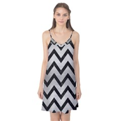 Chevron9 Black Marble & Silver Brushed Metal (r) Camis Nightgown
