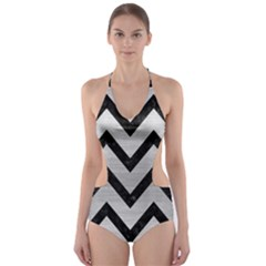 CHV9 BK MARBLE SILVER (R) Cut-Out One Piece Swimsuit