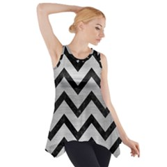 Chevron9 Black Marble & Silver Brushed Metal (r) Side Drop Tank Tunic
