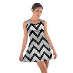 Chevron9 Black Marble & Silver Brushed Metal (r) Cotton Racerback Dress