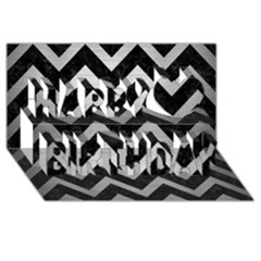 Chevron9 Black Marble & Silver Brushed Metal Happy Birthday 3d Greeting Card (8x4)