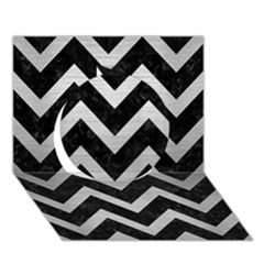 Chevron9 Black Marble & Silver Brushed Metal Circle 3d Greeting Card (7x5)