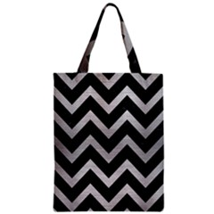 Chevron9 Black Marble & Silver Brushed Metal Zipper Classic Tote Bag
