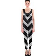 Chevron9 Black Marble & Silver Brushed Metal Onepiece Catsuit