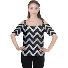 Chevron9 Black Marble & Silver Brushed Metal Cutout Shoulder Tee