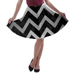 CHV9 BK MARBLE SILVER A-line Skater Skirt