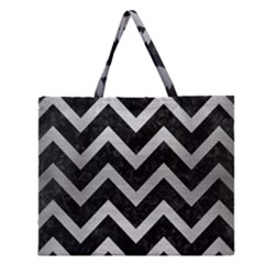 CHV9 BK MARBLE SILVER Zipper Large Tote Bag