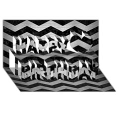 Chevron3 Black Marble & Silver Brushed Metal Happy Birthday 3d Greeting Card (8x4)