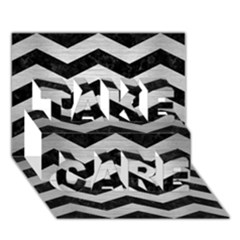 Chevron3 Black Marble & Silver Brushed Metal Take Care 3d Greeting Card (7x5)