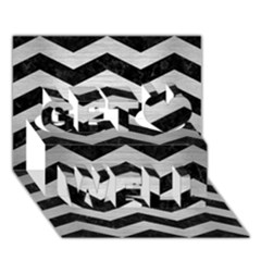 Chevron3 Black Marble & Silver Brushed Metal Get Well 3d Greeting Card (7x5)