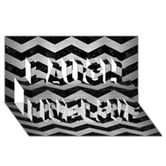 Chevron3 Black Marble & Silver Brushed Metal Laugh Live Love 3d Greeting Card (8x4)