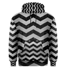 Chevron3 Black Marble & Silver Brushed Metal Men s Pullover Hoodie