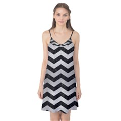 Chevron3 Black Marble & Silver Brushed Metal Camis Nightgown