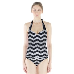 CHV3 BK MARBLE SILVER Women s Halter One Piece Swimsuit