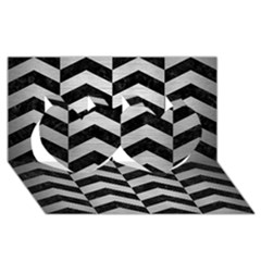 Chevron2 Black Marble & Silver Brushed Metal Twin Hearts 3d Greeting Card (8x4)