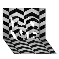 Chevron2 Black Marble & Silver Brushed Metal Love 3d Greeting Card (7x5)