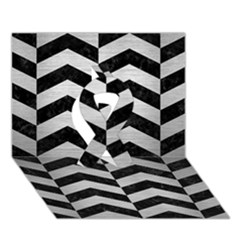 Chevron2 Black Marble & Silver Brushed Metal Ribbon 3d Greeting Card (7x5)