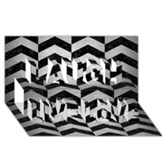 Chevron2 Black Marble & Silver Brushed Metal Laugh Live Love 3d Greeting Card (8x4)