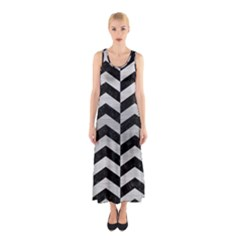 Chevron2 Black Marble & Silver Brushed Metal Sleeveless Maxi Dress