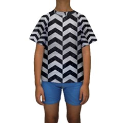 CHV2 BK MARBLE SILVER Kid s Short Sleeve Swimwear