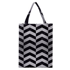 Chevron2 Black Marble & Silver Brushed Metal Classic Tote Bag
