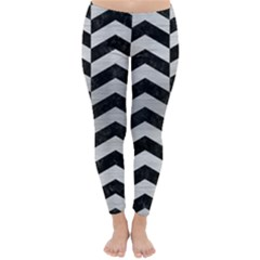 Chevron2 Black Marble & Silver Brushed Metal Classic Winter Leggings