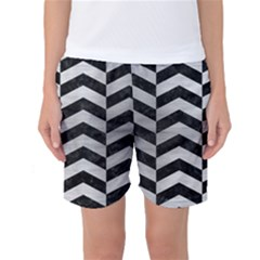 Chevron2 Black Marble & Silver Brushed Metal Women s Basketball Shorts