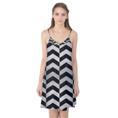 Chevron2 Black Marble & Silver Brushed Metal Camis Nightgown