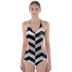 CHV2 BK MARBLE SILVER Cut-Out One Piece Swimsuit