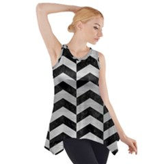 CHV2 BK MARBLE SILVER Side Drop Tank Tunic
