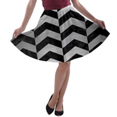 Chevron2 Black Marble & Silver Brushed Metal A Line Skater Skirt