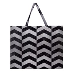 CHV2 BK MARBLE SILVER Zipper Large Tote Bag