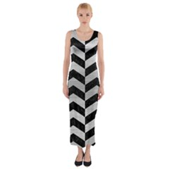 Chevron2 Black Marble & Silver Brushed Metal Fitted Maxi Dress