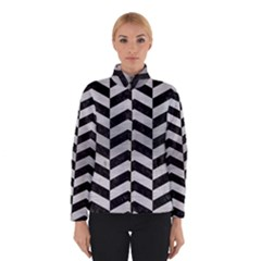 Chevron2 Black Marble & Silver Brushed Metal Winter Jacket