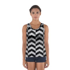 Chevron2 Black Marble & Silver Brushed Metal Sport Tank Top