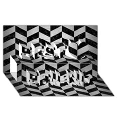 Chevron1 Black Marble & Silver Brushed Metal Best Friends 3d Greeting Card (8x4)