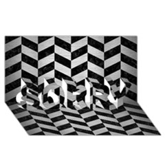 Chevron1 Black Marble & Silver Brushed Metal Sorry 3d Greeting Card (8x4)