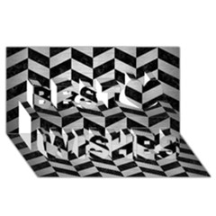 Chevron1 Black Marble & Silver Brushed Metal Best Wish 3d Greeting Card (8x4)