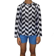 Chevron1 Black Marble & Silver Brushed Metal Kids  Long Sleeve Swimwear