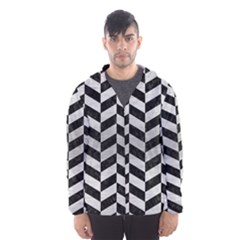 Chevron1 Black Marble & Silver Brushed Metal Hooded Wind Breaker (men)