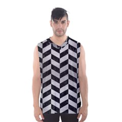 Chevron1 Black Marble & Silver Brushed Metal Men s Basketball Tank Top