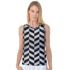 Chevron1 Black Marble & Silver Brushed Metal Women s Basketball Tank Top