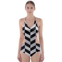 Chevron1 Black Marble & Silver Brushed Metal Cut Out One Piece Swimsuit