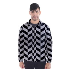 Chevron1 Black Marble & Silver Brushed Metal Wind Breaker (men)