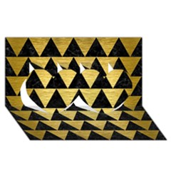 Triangle2 Black Marble & Gold Brushed Metal Twin Hearts 3d Greeting Card (8x4)