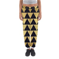Triangle2 Black Marble & Gold Brushed Metal Women s Jogger Sweatpants
