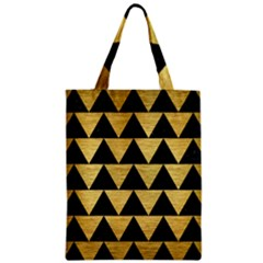 Triangle2 Black Marble & Gold Brushed Metal Zipper Classic Tote Bag