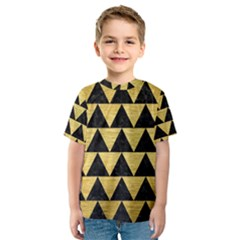 Triangle2 Black Marble & Gold Brushed Metal Kids  Sport Mesh Tee