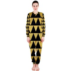 Triangle2 Black Marble & Gold Brushed Metal Onepiece Jumpsuit (ladies)